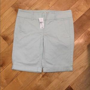NWT Loft Tiffany Blue Twill Bermuda Shorts Size 2